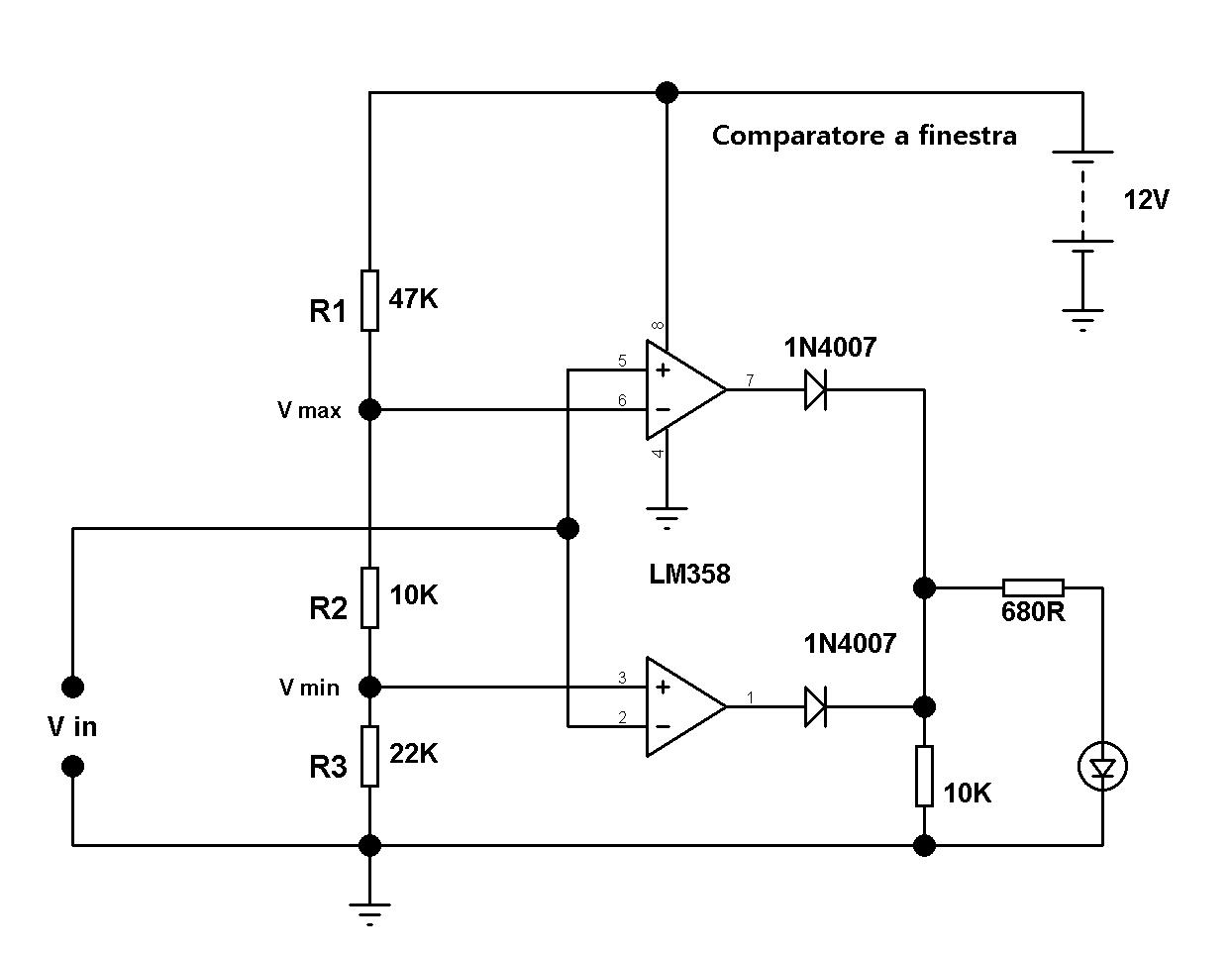 Comparatore di tensione con operazionale mariodenichilo - Comparatore a finestra ...